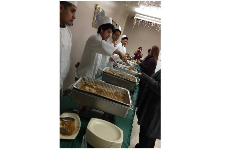Culinary arts students cook, serve staff luncheon