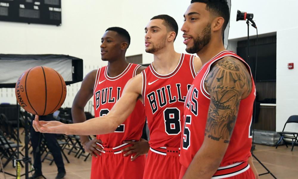 Sep 25, 2017; Chicago, IL, USA; Chicago Bulls guard Kris Dunn (left), guard Zach LaVine (center), and guard Denzel Valentine (right) pose for a photo on media day at The Advocate Center. Mandatory Credit: Patrick Gorski-USA TODAY Sports ORG XMIT: USATSI-363576 ORIG FILE ID:  20170923_pjc_gb9_522.JPG