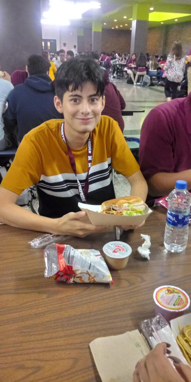 Morton student, Emanuel Tamariz, enjoying his lunch