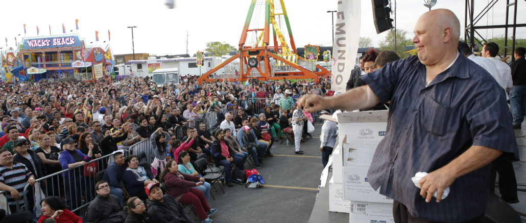 Town president Larry Dominick addresses the crowd at Cinco de Mayo  festival.