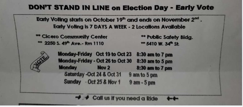 There is early voting this year for  the 2020 elections  where you don't have to wait till November 3rd to vote. This photo shows the schedule for early voting.