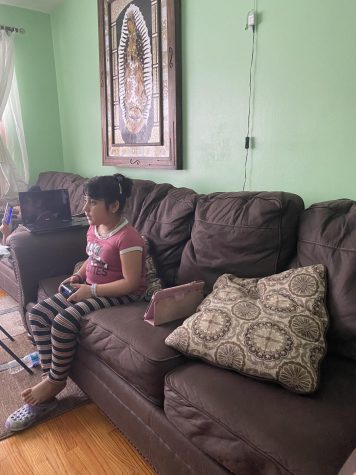 My little sister playing videogames.