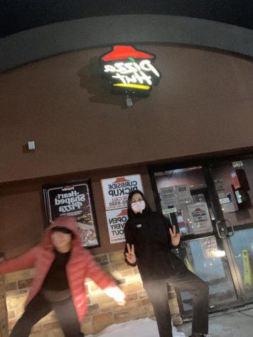 Vivian Valencia and Melanie Palencia outside of Pizza Hut in cicero