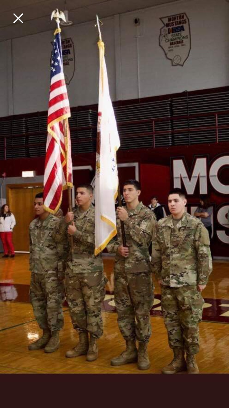 Four soldiers from Morton East including (left to right)  Keone Salgado, Alex Varela, Aurelio Servin and Jesus Carrillo, were the color guard at West's Veteran Day event.