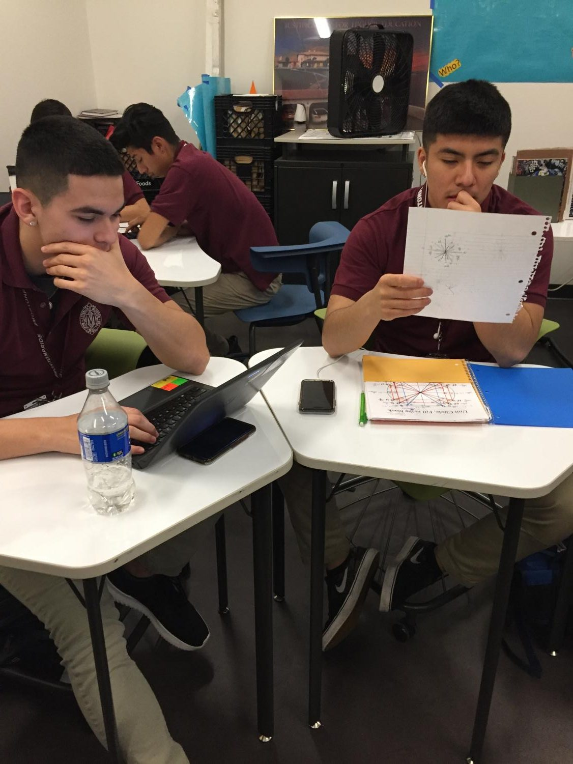 Seniors William Ramos and Adrian Gallegos are working on their assignments the way they feel most comfortable with.