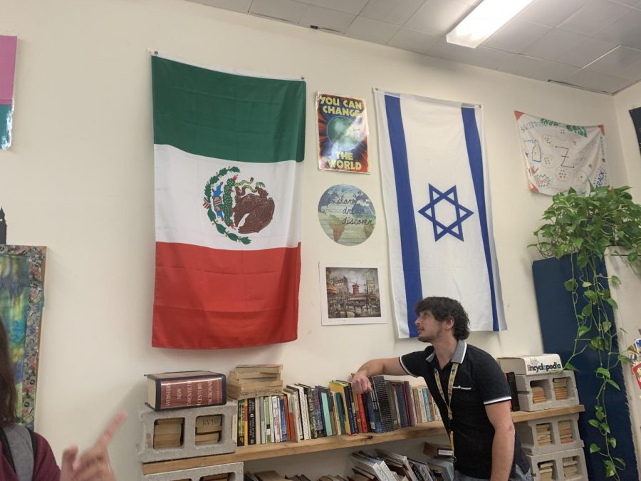 English teacher Brad Reid admires the Mexican flag