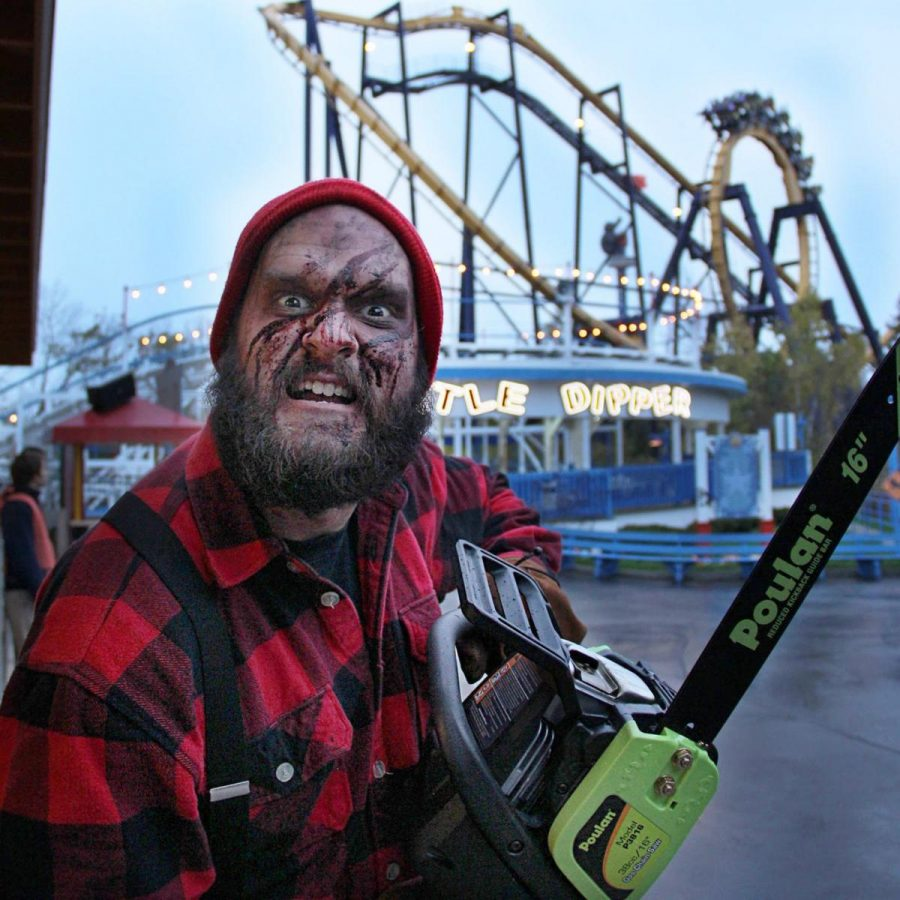 Lumberjack chainsaw attack lies right around the rollercoaster.