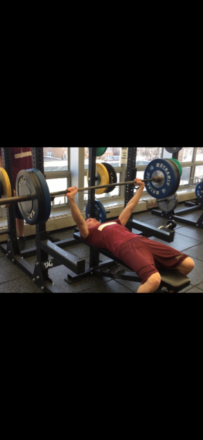 Senior Francisco Montoyo benches 155. (Now, he's up to 195)